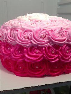 Pink ombré rosette cake