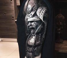 Samurai, black and grey realistic tattoo style done by tattoo artist Eliot Kohek Tattoos 3d, Asian Tattoos, Black Tattoos, Body Art Tattoos, Tattoos For Guys, Tatoos, Samurai Tattoo Sleeve, Samurai Warrior Tattoo, Warrior Tattoos