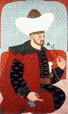 "Beyazid I, portrait from sixteenth century manuscript, H 1563, ""The Genealogy of the Ottoman Sultans"", Topkapi Palace Museum, Istanbul, Turkey"