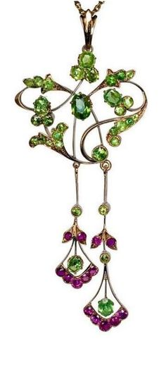 An Art Nouveau Demantoid and Ruby Pendant -   made in Moscow between 1908 and 1917.