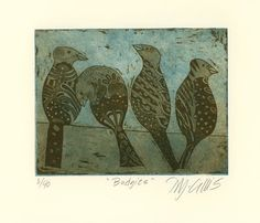 etching,original art,Budgies,sky blue,chocolate brown,birds,pattern,feathers,tailfeathers,friends,home interior,printmaking,hand printed