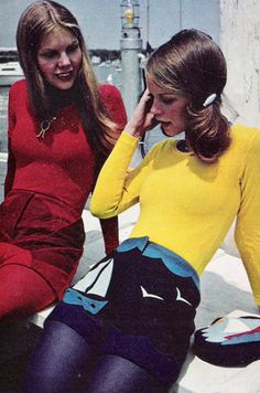 """Just Seventeen August 1971. """"Hot pants in color-ripe felt: one a sunburst, one a mariner's dream."""""""