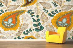 Orange and Yellow Paisley Pattern Mural