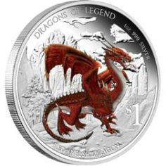 DRAGONS OF LEGEND - RED WELSH DRAGON 2012 1OZ SILVER PROOF COIN my favorite