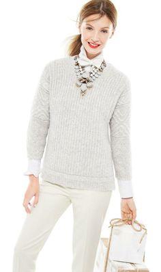 J.Crew textured stitch sweater & Thomas Mason® for J.Crew boy shirt.