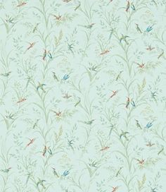 Tuileries (214082) - Sanderson Wallpapers - A faithful interpretation of a Sanderson wallpaper archive featuring dainty humming birds with their iridescent feathers, as they flit amongst wild grasses. Shown in the soft sage green colourway. Please request sample for true colour match. Paste the wall.