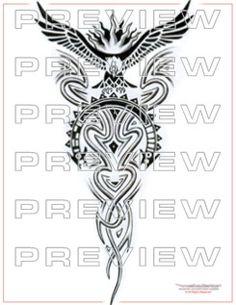amazing condor tattoo design with tribal art