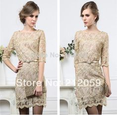 2014 new  women's champagne color fashion gold line  ladies elegant organza embroidery lace sleeve bottoming one-piece dress $20.64