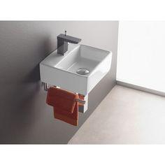 Wandmontage Waschbecken BERMEO 4901 inkl. Handtuchhalter, Handwaschbecken, Waschtisch Gäste-WC