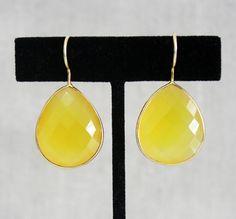 Yellow Quartz Drop Earrings