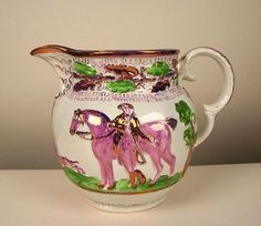 Pink Luster Pitcher Hunting scene