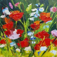 KMD2826 Springtime Bounty 6x6, original oil, floral, poppy painting by Kit Hevron Mahoney, painting by artist Kit Hevron Mahoney