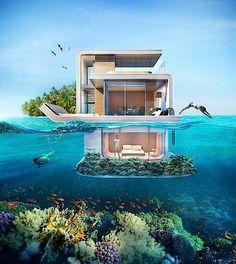 """""""Floating Seahorse Villa"""" overlooks underwater - (""""Schwimmende Villa"""" bietet Ausblick unter Wasser)"""