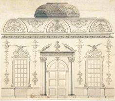Design for the Decoration of the Window Door Wall of a Rococo Room with a Coved Ceiling and Coved Central Fanlight (Section)    Attributed to Thomas Lightoler  (British, active 1742–1775)    Date: mid-18th century    American Rococo...  From...  http://a-l-ancien-regime.tumblr.com/post/19125403356/design-for-the-decoration-of-the-window-door-wall