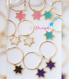 ✨💫 Most popular star earrings . Seed Bead Earrings, Beaded Earrings, Earrings Handmade, Beaded Jewelry, Handmade Jewelry, Star Earrings, Neon Bracelets, Peyote Beading, Bead Art