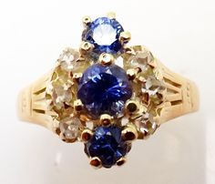 VICTORIAN ROSE GOLD BLUE GENUINE NATURAL SAPPHIRE RING WITH DIAMONDS (#3201)