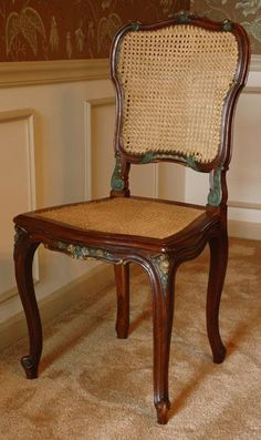 Louis XV Carved Side Chair with Cane Seat and Back from piatik on Ruby Lane