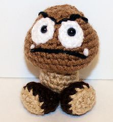 Mini Goomba Gamer Friend - free Mario inspired crochet pattern by Mary Smith.