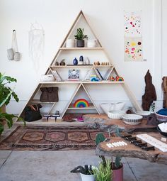 The pyramid-style shelving at General Store, a boutique in Venice, Calif., offers a stand-alone piece for storing odds and ends
