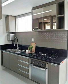 New design interior cozinha small apartments Ideas Kitchen Design Small, Kitchen Remodel, Kitchen Decor, Interior Design Kitchen, Kitchen Cabinets Decor, Kitchen Furniture Design, Home Interior Design, Kitchen Sets, Kitchen Design