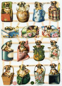 CURIOUS PUGS  Die Cut Reliefs by OneDayLongAgo on Etsy, $2.95