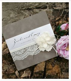 Floral Wedding Invitations - Lace Wedding Invitations - Huetopia Design - rustic invitation