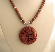 Phoenix Bird Pendant Necklace with Pink Rhodonite Stone, Silver Plated Spacer Beads, Hand Carved Chinese Jewelry
