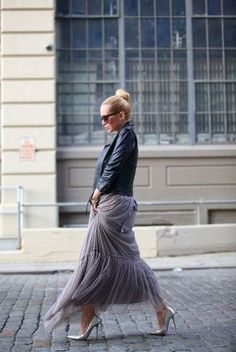 Leather + tulle. High low style