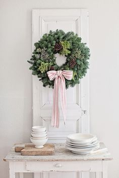 Dreamy Whites: Giveaway, Wintersteen Farms Wreaths, Silver Tipped Christmas Trees, Anthropologie Ornaments Noel Christmas, Country Christmas, Simple Christmas, Winter Christmas, Christmas Wreaths, Christmas Gifts, Christmas Decorations, Holiday Decor, Beautiful Christmas