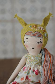 Handmade doll with the owl bonnet Heirloom doll Woodland