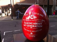 An egg from the Big Egg Hunt happening across London (we made the stands for all the eggs! www.piggotts.co.uk)
