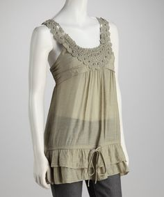Take a look at this Sage Lace Yoke Tank by Simply Irresistible on #zulily today!