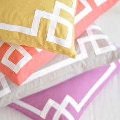 love the ribbon detail on these pillows