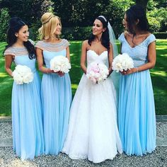 Cap Sleeve Light Blue Bridesmaid Dress,Elegant Wedding Party