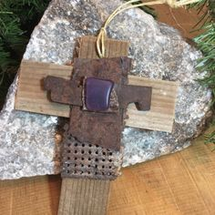 Rustic Primitive Holiday Christmas Tree Ornament Wall Hanging Handmade Old West Western Royal Purple Desert Sea Glass Unique Rustic Antique Metals 45 yr old Garden Lattice Wood Holiday Christmas Decor Decoration Cross Christening Cross