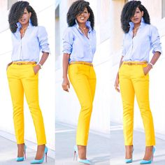 Boyfriend Shirt + Cigarette Ankle Length Pants Outfit Details: Shirt: J. Yellow Jeans Outfit, Ankle Pants Outfit, Ankle Length Pants, Cute Work Outfits, Classy Outfits, Summer Outfits, Mustard Yellow Pants, Ralph Lauren Womens Clothing, Professional Dresses