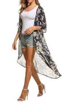 3deadf9377189 Meaneor Women's Chiffon Kimono Beach Bikini Cover Up Floral Cardigan at Amazon  Women's Clothing store: