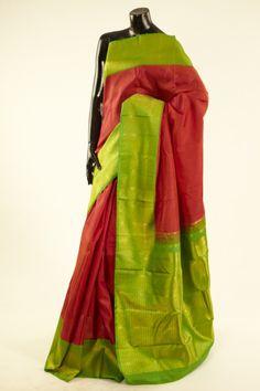 Kancheepuram, Kanjipuram- silk blood red saree with blouse