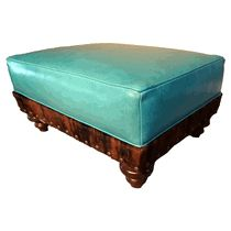 Turquoise Leather & Cowhide Ottoman