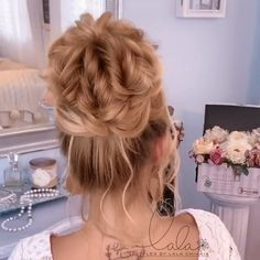 Beautiful By lalasupdos Bun Hairstyles For Long Hair, Pretty Hairstyles, Braided Hairstyles, Wedding Hairstyles, Curly Hairstyle, Style Hairstyle, Hairstyles 2018, Braided Updo, Bridal Hair Buns