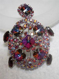 Vintage Juliana Style Aurora Borealis Heliotrope Rhinestone Turtle Pin Brooch
