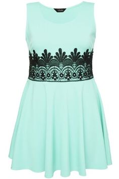 Yoursclothing Womens Plus Size Mint Skater Dress With Black Lace Waist Detail Size 22 Green YoursClothing http://www.amazon.com/dp/B00KG5P86K/ref=cm_sw_r_pi_dp_wCdStb0AZ4EXCF2B