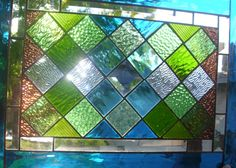 Stained Glass Window  Blue and Green by stainedglassfusion on Etsy, $189.00