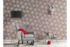 Romantisches und verspieltes Design, durch Rosenblüten in rosa auf einem grauen Hintergrund.  Eine tolle Tapete für Träumer.  #Tapete #Wanddekoration #Tapetenideen #Schlafzimmer #Wohnzimmer #Büro #Küche #Esszimmer #Flur #Blumen #Blüten #floral #Hertie AS Création