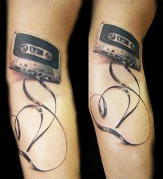 cassette tape tattoo. I don't like how much tape there is but the cassette itself is great!