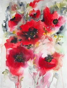 Eredeti art eladó UGallery.com | Pipacsok tömegesen V Karin Johannesson | $ 350 | akvarell | 15 'HX 11' w | http://www.ugallery.com/watercolor-painting-poppies-en-masse-v