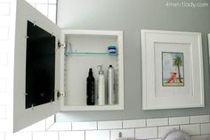 When your bathroom mirror doesn't double as a medicine cabinet (or, if your hair products simply require an overflow zone), try these cool hidden shelves that display art when closed. See more at 4 Men 1 Lady »
