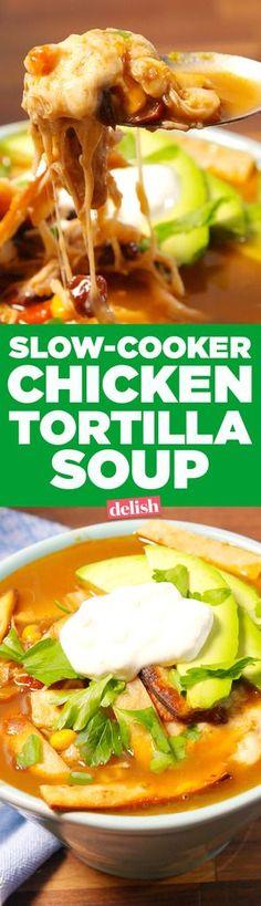 Slow-Cooker Chicken Tortilla Soup  - Delish.com