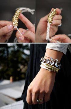 love the gold/brass nuts used to make this bracelet