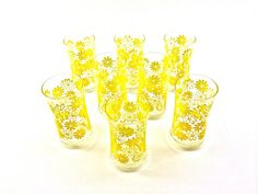 Set of 8 1970s Vintage Yellow and Mustard by EagleWingVintage, $32.00